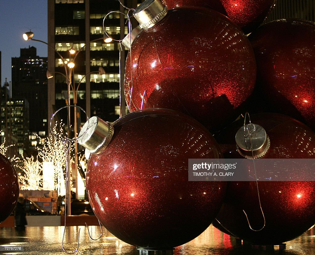 Giant Christmas Tree Ornaments Sit In The Plaza Of A Highrise On 6th Avenue