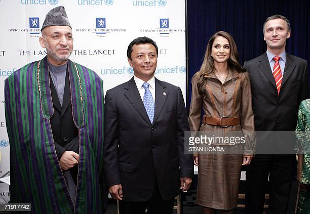 Hamid Karzai President of Afghanistan Marc Ravalomanana President of Madagascar Queen Rania of Jordan and Jens Stoltenberg Prime Minister of Norway...