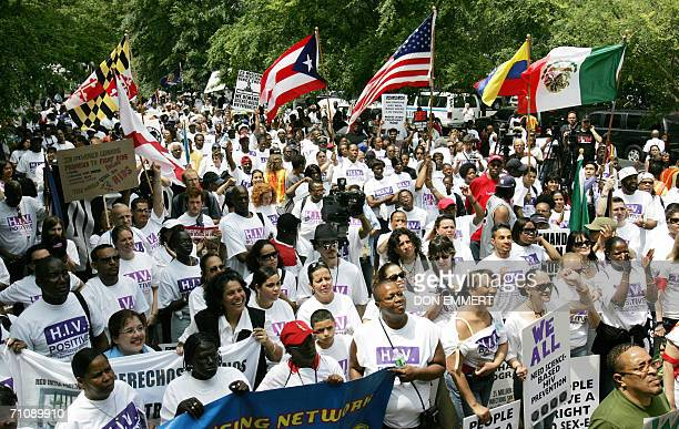 Hundreds of demonstrators gather near the United Nations to protest the UNhighlevel meetings on HIV/AIDS 31 May 2006 in New York UN chief Kofi Annan...