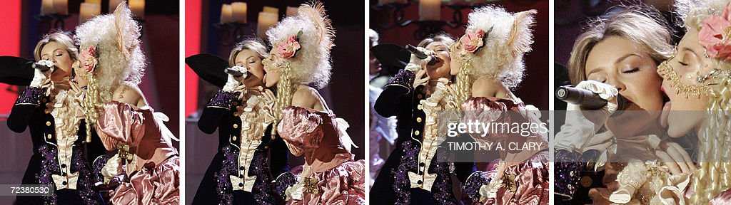 In this photo series Mexican singer Thalia (L) is licked in the face by a dancer during their peformance at the 7th Annual Latin Grammy Awards 02 November 2006 at Madison Square Garden in New York.