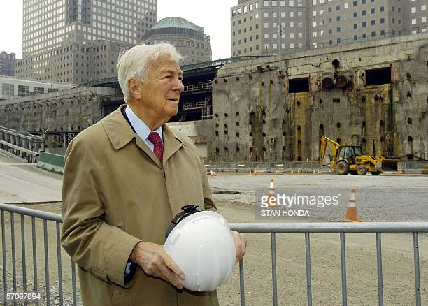 John C Whitehead founding Chairman of the World Trade Center Memorial Foundation watches construction on the Memorial and Museum at Ground Zero 13...
