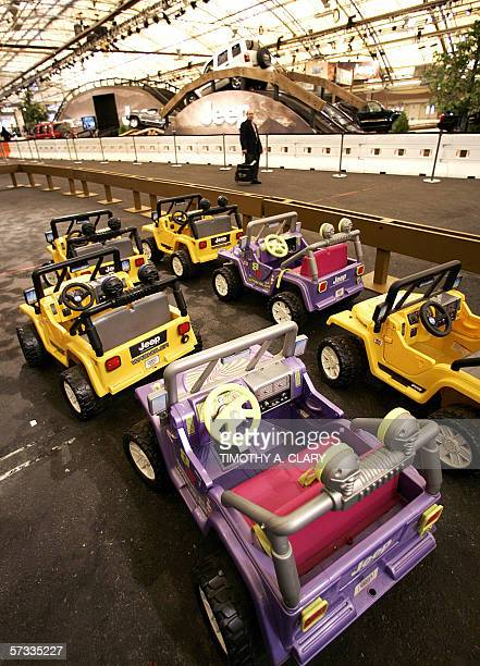 Kids toy Jeeps are lined up ready to ride at Camp Jeep during 2006 New York International Auto Show at the Jacob Javits Convention Center in New York...