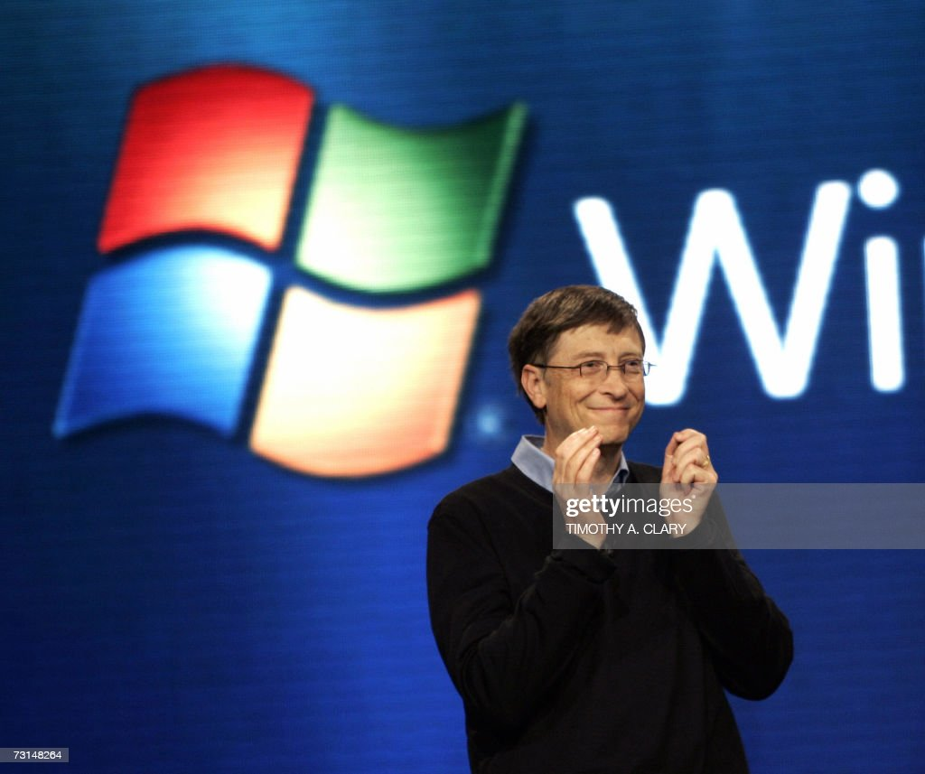 Microsoft founder Bill Gates speaks during the press conference at the Microsoft Windows Vista operating system launch 29 January 2007 in New York. The new Windows Vista will be available to consumers 30 January. AFP PHOTO/Timothy A. CLARY