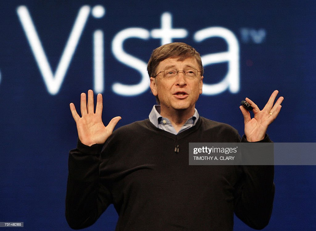 Microsoft founder Bill Gates speaks during the press conference at the Microsoft Windows Vista operating system launch, 29 January 2007, in New York. The new Windows Vista will be available to consumers on 30 January. AFP PHOTO Timothy A. CLARY