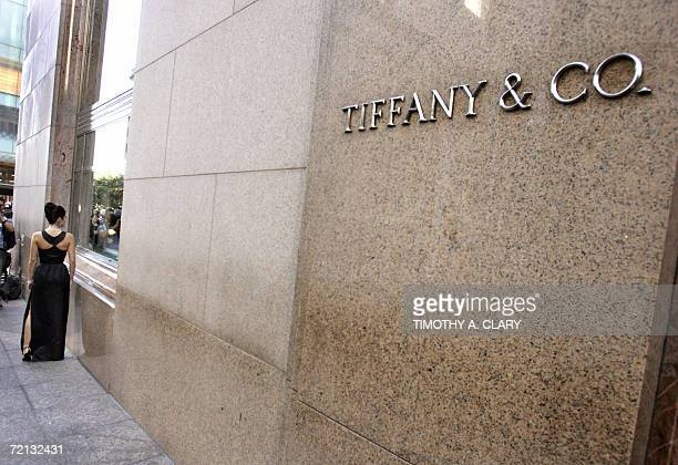 Model Kally Michalakif stands in front of the window at Tiffany Co on 5th Avenue in New York 10 October 2006 wearing the black Givenchy dress made...