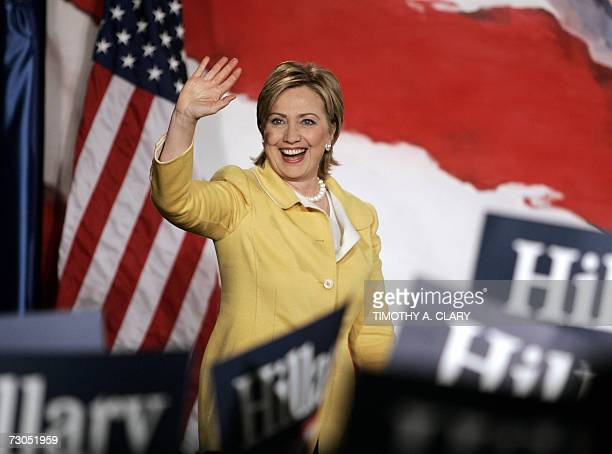 Photo dated 07 November 2006 shows US Democratic Senator Hillary Clinton of New York waving to supporters after she won her second term Clinton took...