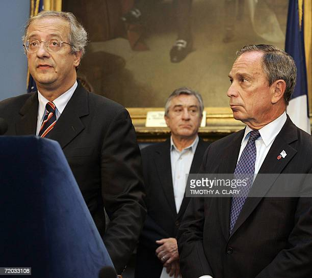 Rome Mayor Walter Veltroni joins New York Ciy Mayor Michael Bloomberg and actor and Tribeca Film Festival cofounder Robert De Niro at a news...