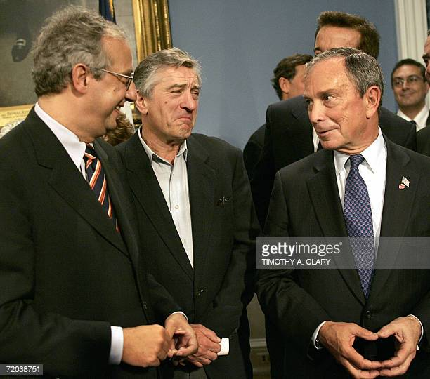 Rome Mayor Walter Veltroni talks with New York Ciy Mayor Michael Bloomberg and actor and Tribeca Film Festival cofounder Robert De Niro at a news...