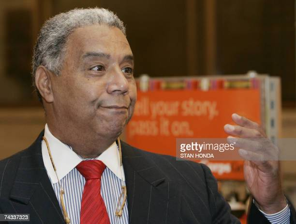 William Haley son of author Alex Haley speaks in front of the StoryCorp recording booth 22 May 2007 at Grand Central Terminal in New York A 30th...