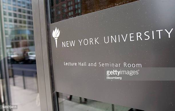 New York University sign hangs outside a lecture hall in New York US on Tuesday July 28 2009 Millions of dollars for financial aid is out of reach at...