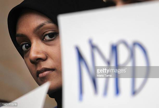 New York University student attends a town hall to discuss the NYPD's surveillance of Muslim communities on February 29 2012 in New York City The...