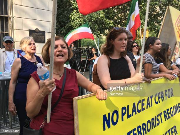 New York US Iranians and Americans stage protest against the ltCouncil on Foreign Relationsgt hosting of the Iranian foreign minister Javad Zarif in...