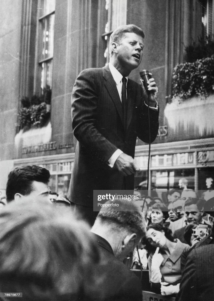 New York USA 19th September Democratic presidential candidate Senator John F Kennedy speaks to large crowds during his tour of New York during the...