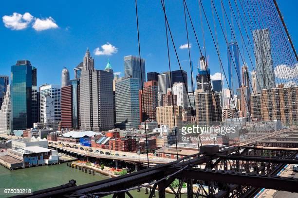 USA, New York, view Manhattan from Brooklyn bridge