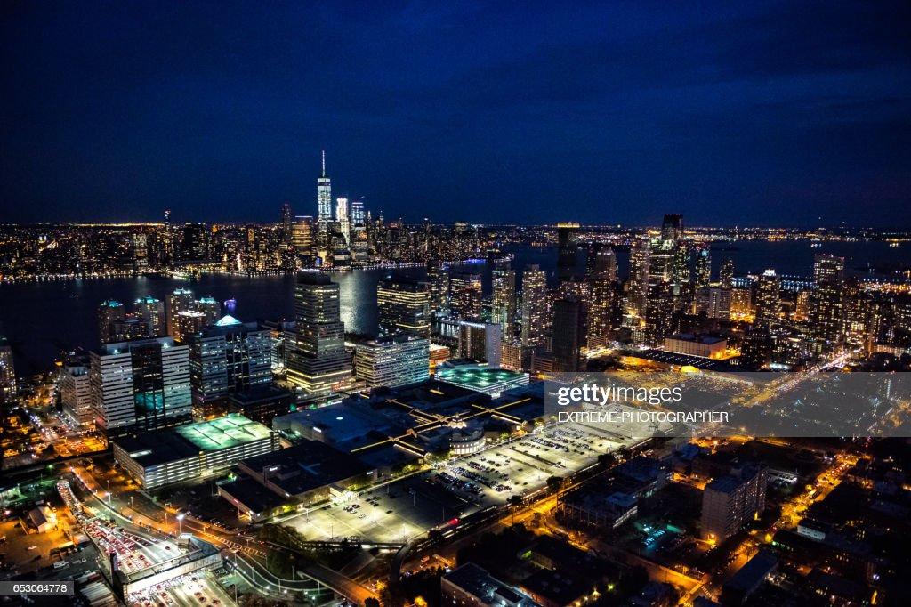 New York van New Jersey gezien : Stockfoto