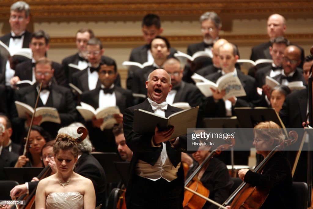 New York Virtuoso Singers and the Orchestra of St. Luke's in Haydn's 'The Creation' at Carnegie Hall on Friday night, December 21, 2012.This image:The tenor Benjamin Butterfiled.