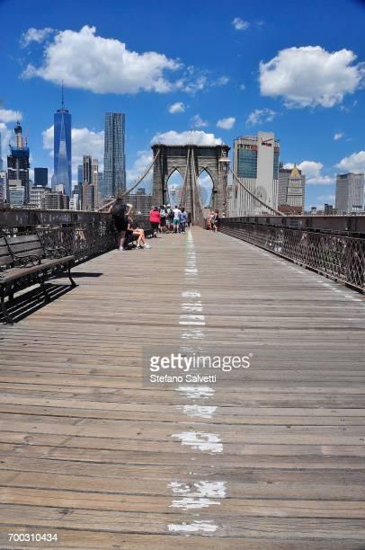 USA, New York, walk way on Brooklyn bridge