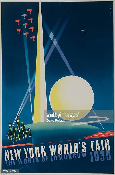 New York World's Fair poster showing spotlit Trylon and Perisphere with air show and city skyscrapers illustrated by Joseph Binder