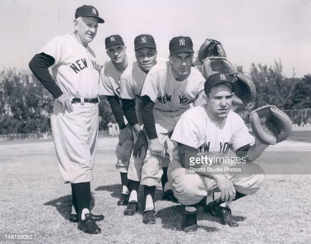 New York Yankee catchers Casey Stengel John Blanchard Elston Howard Darrell Johnson and Yogi Berra on March 5 1958