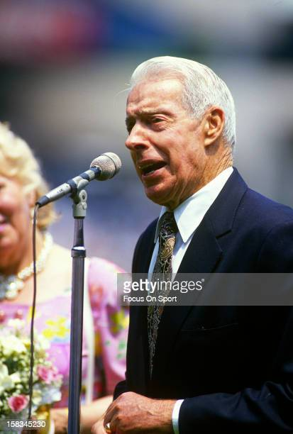 New York Yankee great Joe DiMaggio talks to the fans before an Major League Baseball game circa 1993 at Yankee Stadium in the Bronx borough of New...