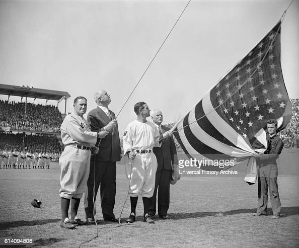 New York Yankee Manager Joe McCarthy Postmaster General James A Farley Washington Senator's Manager Bucky Harris and Clark Griffith owner of Senators...