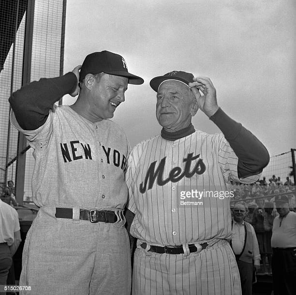 New York Yankee manager Ralph Houk laughs at one of his exboss's jokes as he met New York Mets' manager Casey Stengel before their exhibition game...