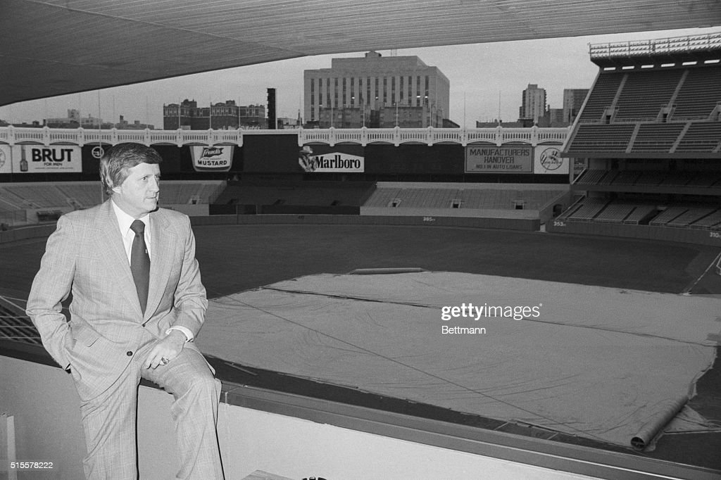 Yankee owner <a gi-track='captionPersonalityLinkClicked' href=/galleries/search?phrase=George+Steinbrenner&family=editorial&specificpeople=220576 ng-click='$event.stopPropagation()'>George Steinbrenner</a> spends a quiet moment at Yankee Stadium 10/17- one of the few such periods of tranquility thes year. On the eve of game #6 of the World Series with the Dodgers, Steinbrenner had to deal with still another player-problem as pitcher Ed Figueroa quit the tema because he wasn't picked to start the 10/18 game.