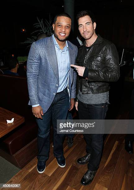New York Yankee Robinson Cano and actor Dylan McDermott attend the Baron Tequila Launch Party at Butter Restaurant on November 19 2013 in New York...