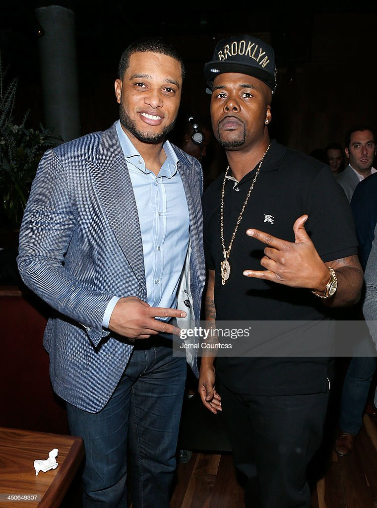 New York Yankee Robinson Cano and rapper Memphis Bleek attend the Baron Tequila Launch Party at Butter Restaurant on November 19, 2013 in New York City.