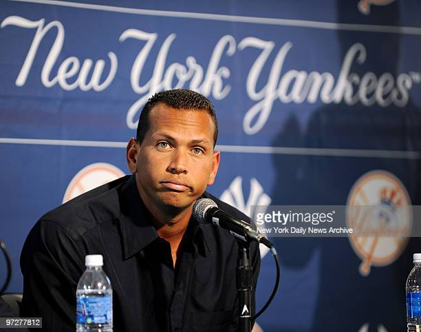 New York Yankees 3rd baseman Alex Rodriguez addresses the media on his steroid use on his first day of spring training