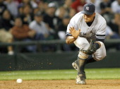 New York Yankees' 3rd Baseman Alex Rodriguez fields a ground ball during their game versus the Chicago White Sox June 6 2007 at US Cellular Field in...
