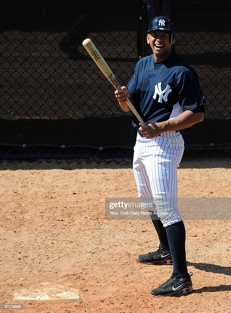 New York Yankees 3rd baseman Alex Rodriguez laughs during a bunting drill during Wednesday's workout New York Yankees Spring Training 2009