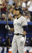 New York Yankees Alex Rodriguez looks perplexed after striking out for the 4th time in today's game against the Toronto Blue Jays at Rogers Centre in...