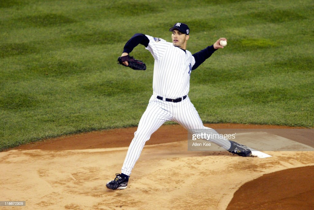 New York Yankees <a gi-track='captionPersonalityLinkClicked' href=/galleries/search?phrase=Andy+Pettitte&family=editorial&specificpeople=201753 ng-click='$event.stopPropagation()'>Andy Pettitte</a> in action against the Florida Marlins at Yankee Stadium in New York City, New York. The Yankees defeated the Marlins in Game 2 of the 2003 World Series 6 to 1. The Marlins won the 2003 World Series against the Yankees 4 games to 2.