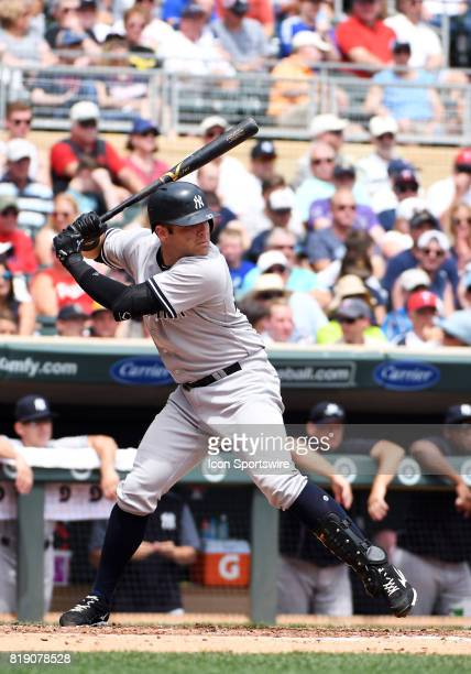 New York Yankees Catcher Austin Romine at the plate during a MLB game between the Minnesota Twins and New York Yankees on July 19 2017 at Target...