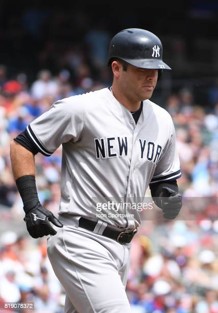 New York Yankees Catcher Austin Romine heads to 1st during a MLB game between the Minnesota Twins and New York Yankees on July 19 2017 at Target...