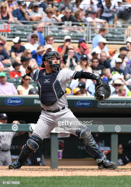 New York Yankees Catcher Austin Romine throws to 2nd during a MLB game between the Minnesota Twins and New York Yankees on July 19 2017 at Target...