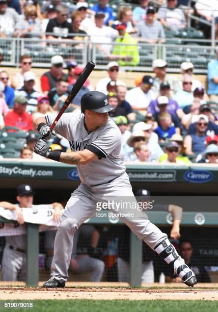 New York Yankees Catcher Gary Sanchez at the plate during a MLB game between the Minnesota Twins and New York Yankees on July 19 2017 at Target Field...