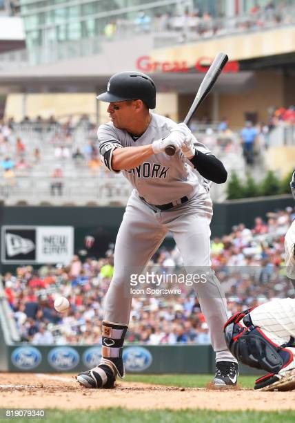New York Yankees Center field Jacoby Ellsbury gets hit on the foot on a pitch from Minnesota Twins Starting pitcher Jose Berrios during a MLB game...