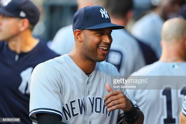 New York Yankees center fielder Aaron Hicks in the dugout prior to the Major League Baseball game between the New York Mets and the New York Yankees...