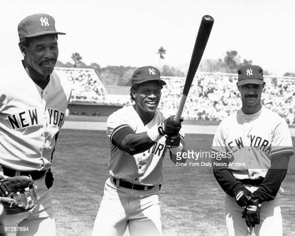 New York Yankees Dave Winfield Rickey Henderson and Don Mattingly during spring training in Florida