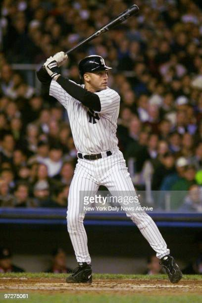 New York Yankees' Derek Jeter at bat in first inning of the first game of the American League Championship Series against the Cleveland Indians Jeter...