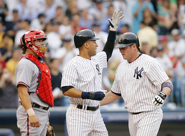 New York Yankees Derek Jeter Congratulates Teammate Jason G