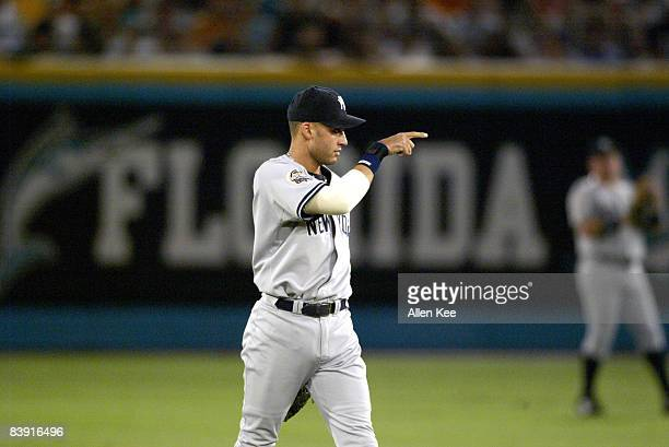 New York Yankees Derek Jeter in action against the Florida Marlins at Pro Player Stadium in Miami Florida The Marlins defeated the Yankees in Game 5...