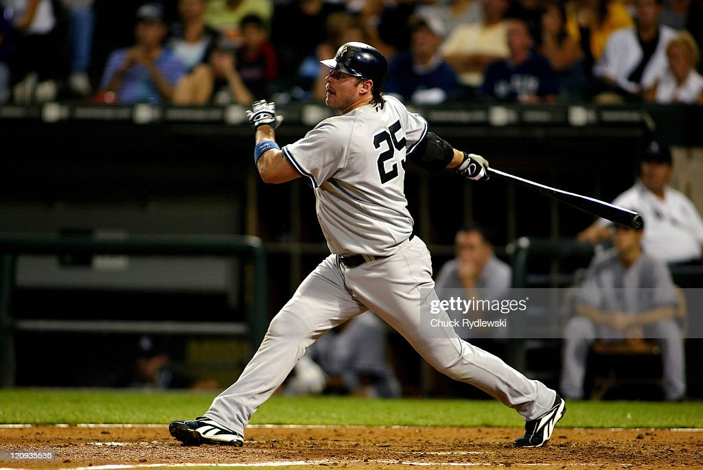 New York Yankees' DH Jason Giambi batting during the game against the Chicago White Sox August 9 2006 at US Cellular Field in Chicago Illinois