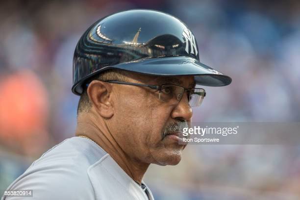 New York Yankees First base coach Tony Pena during the regular season MLB game between the New York Yankees and the Toronto Blue Jays on September 23...
