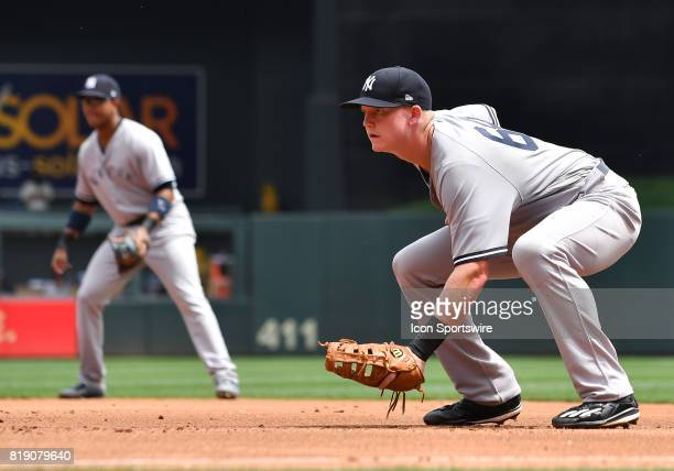 New York Yankees First base Garrett Cooper gets into position during a MLB game between the Minnesota Twins and New York Yankees on July 19 2017 at...