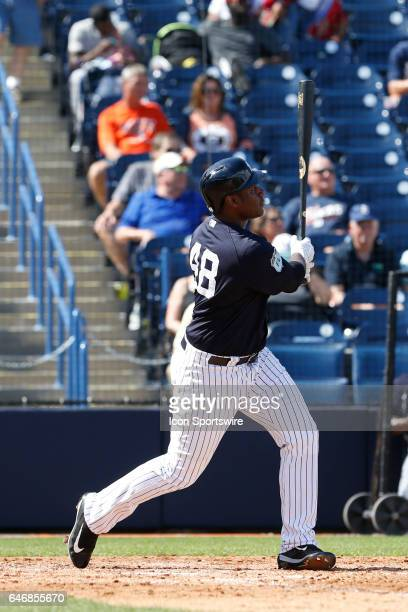 New York Yankees first baseman Chris Carter hits a solo home run during the Spring Training game between the Detroit Tigers and New York Yankees on...