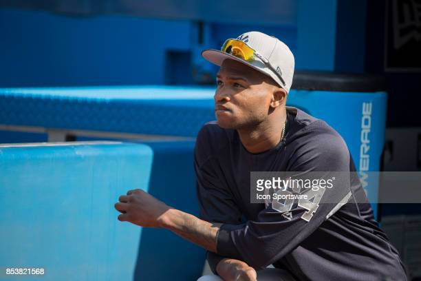 New York Yankees First baseman Garrett Cooper looks out from the dugout before the regular season MLB game between the New York Yankees and the...