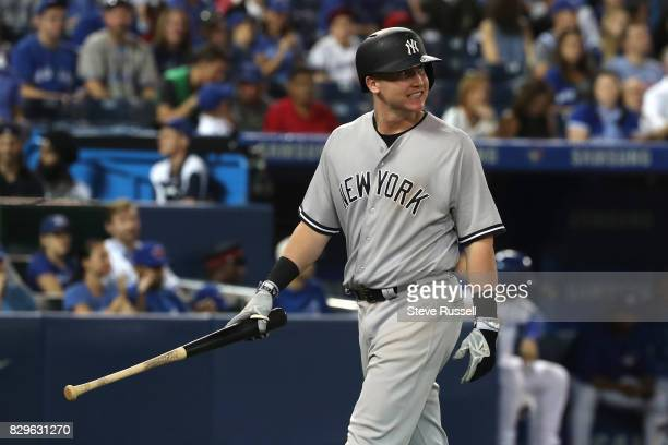 TORONTO ON AUGUST 10 New York Yankees first baseman Garrett Cooper strikes out in the ninth inning as the Toronto Blue Jays shutout the New York...